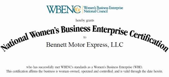 WBENC Certification | Bennett International Group, LLC
