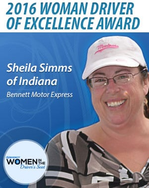 Bennett Motor Express woman driver award