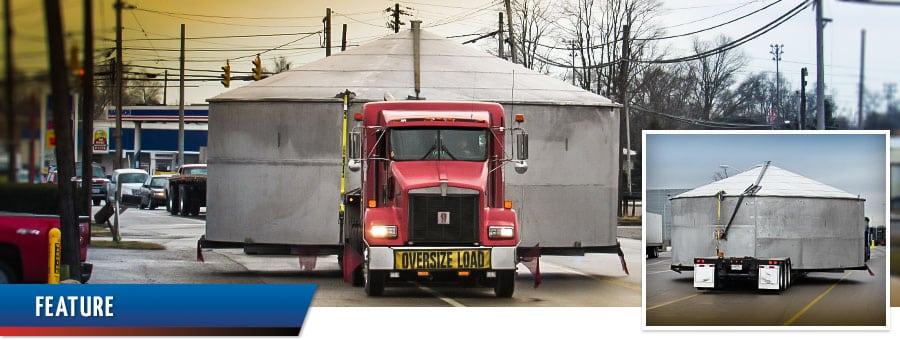 Ace Doran hauls super-size storage tanks