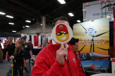 Ace Doran employee with emoji fan