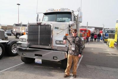 Bennett driver with truck at MATS