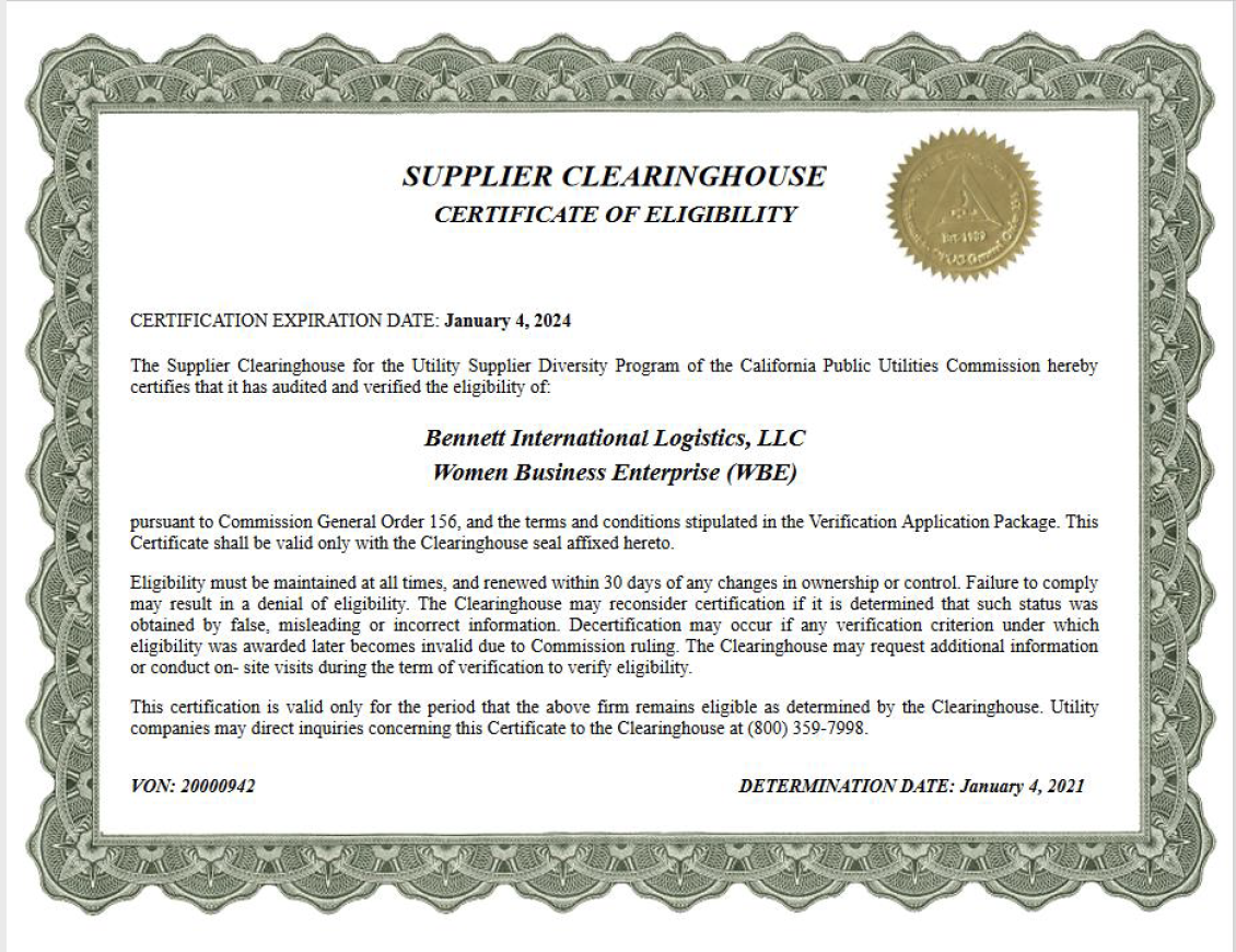 Supplier Clearinghouse Certificate